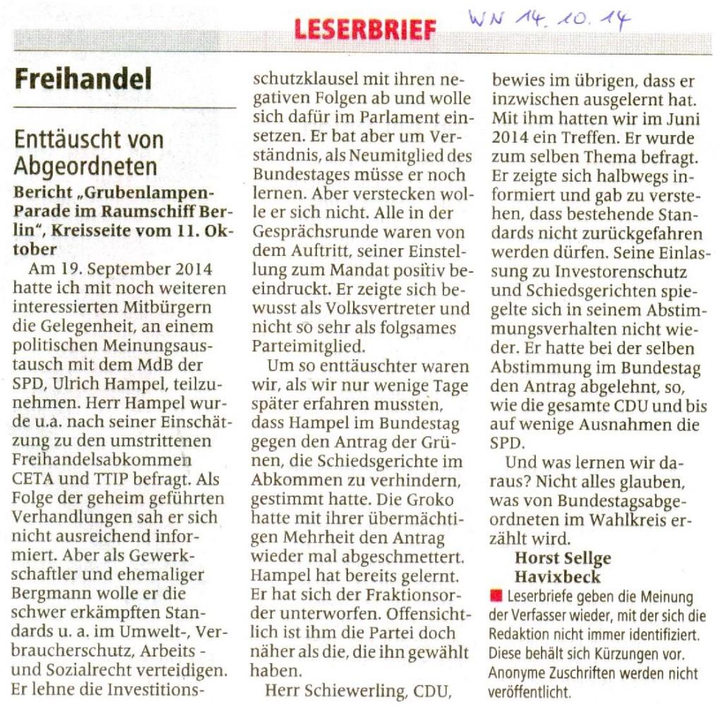 Leserbrief Horst Sellge